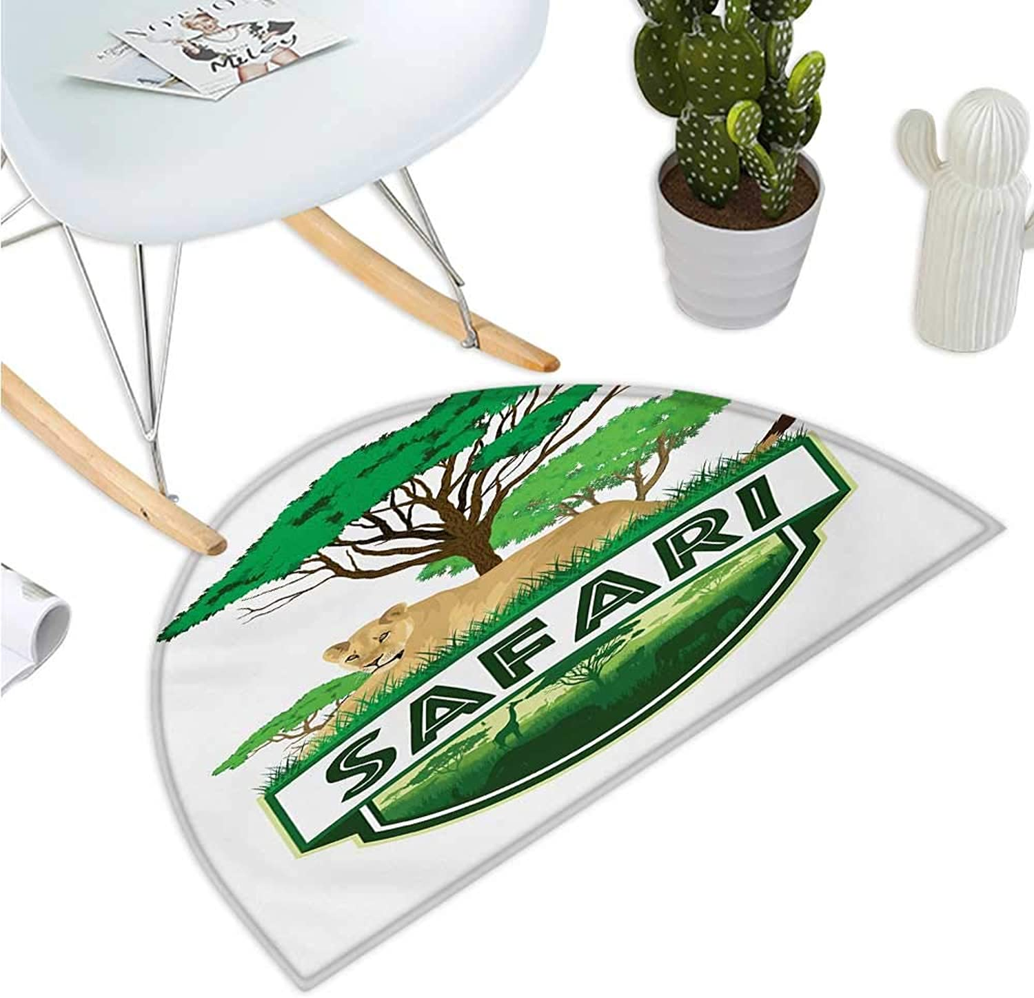 Safari Semicircular Cushion African Savannah with Lion and Green Trees Wilderness Exotic Nature Entry Door Mat H 43.3  xD 64.9  Sand Brown Hunter Green