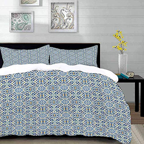 ropa de cama - Juego de funda nórdica, étnico, azulejos portugueses Azulejo floral estilo medieval europeo Mosaico efecto marroquí retro, Mul, juego de funda nórdica de microfibra con 2 fundas de almo