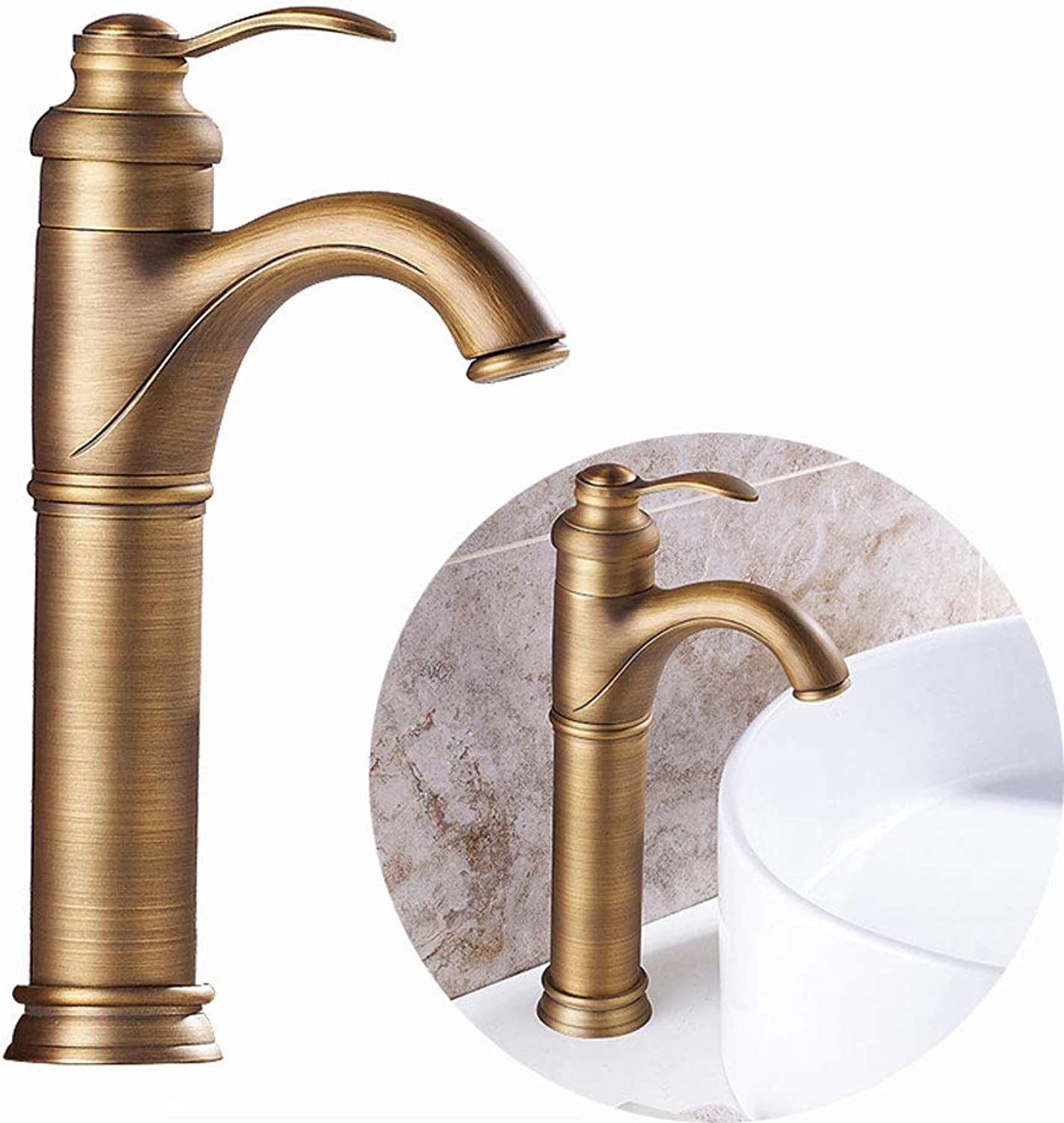 Sanqing Faucet, Solid Copper Low Lead Single Handle Kitchen Bathroom Faucet European Retro Hot And Cold Water Mixer,gold,High