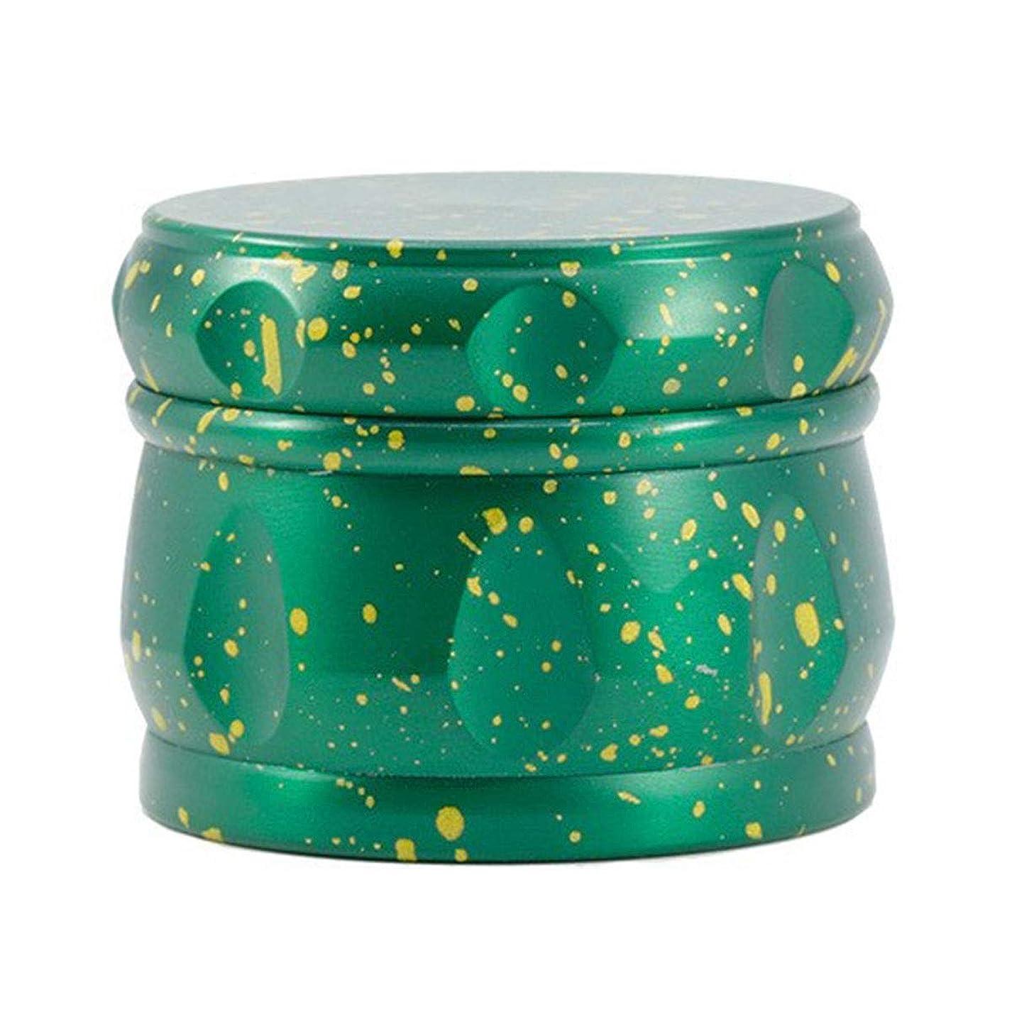 スリットお誕生日振る舞う4層の直径63ミリメートル調理ケータリングに適した金属グラインダー亜鉛合金研削調味ドラムタイプ花スプラッシュインク (Color : Green)