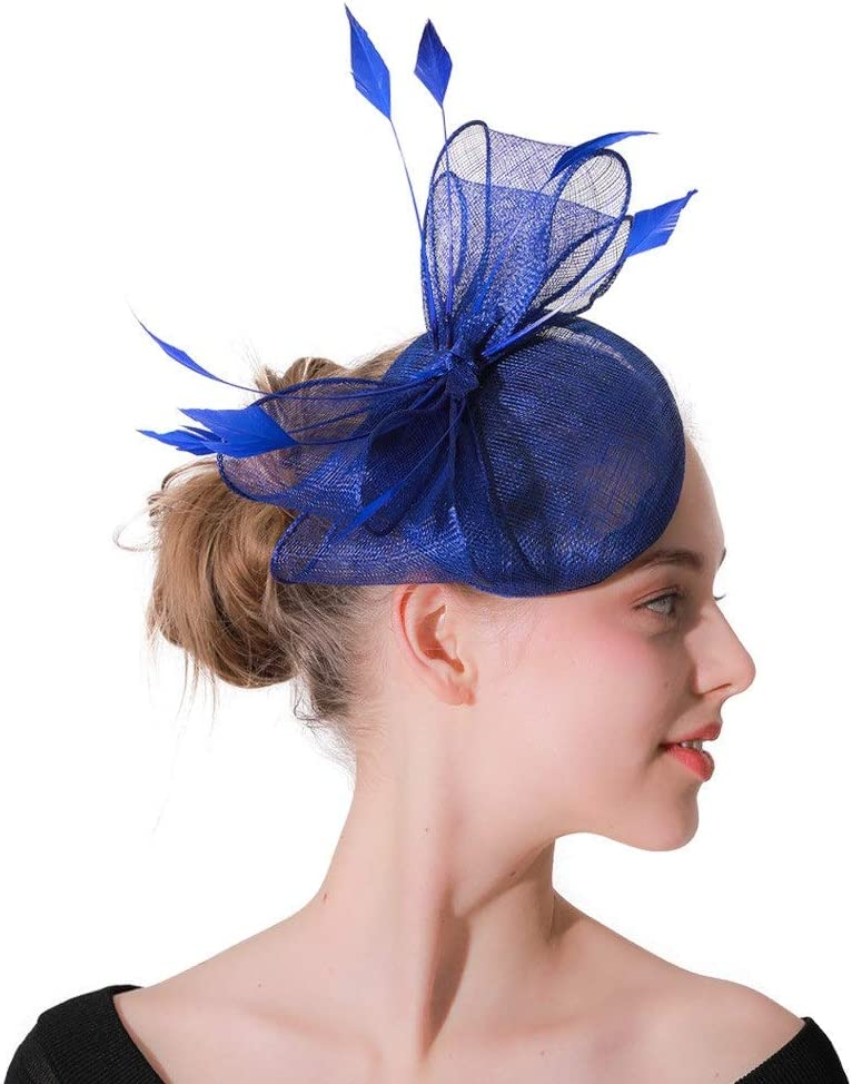 Hat Cambric Feather Flower Wedding Fascinator Spousal Hair Clip for Wedding Cocktail Tea Party Accessories (Color : Blue, Size : Free Size)