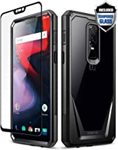 OnePlus 6 Case, Poetic Guardian [Scratch Resistant] [360 Degree Protection] Full-Body Rugged Clear Bumper Case [with Tempered Glass] for OnePlus 6 - Black