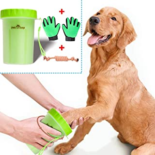 petNtep Portable Dog Paw Cleaner for Dogs Small Breeds or Puppy, Dog Paw Washer Cup has Soft Silicone Bristles to Gently Clean Muddy Paws, Plus Pet Grooming Glove Set and Dog Rope Toy