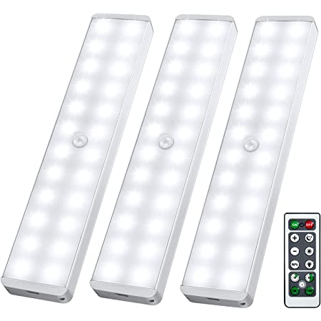 LED Closet Light, 24-LED Newest Dimmer USB Rechargeable Motion Sensor Under Cabinet Lighting Wireless Stick-Anywhere Night Safe Light Bar with Remote for Stairs,Wardrobe,Kitchen,Hallway (3 Packs)