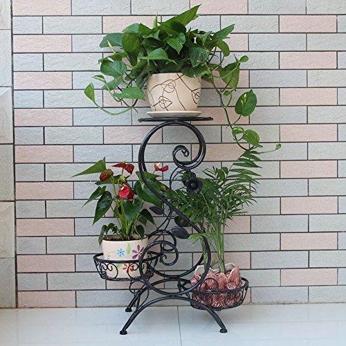 XIAOLIN- Fer à trois étages à fleurs Salon, balcon, fleur, stand Étagère à plancher multi - plancher - étagère à fleurs (Couleur en option) -Cadre de finition de fleurs (Couleur : Noir)