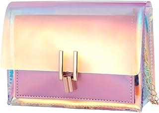 VALICLUD - Bolso de mano transparente para mujer, diseño holográfico y arco iris
