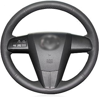 ZHEN JI Funda de volante de piel sintética negra para Mazda 3 Axela 2010-2013 Mazda 5 Mazda 6 CX-7 CX-9