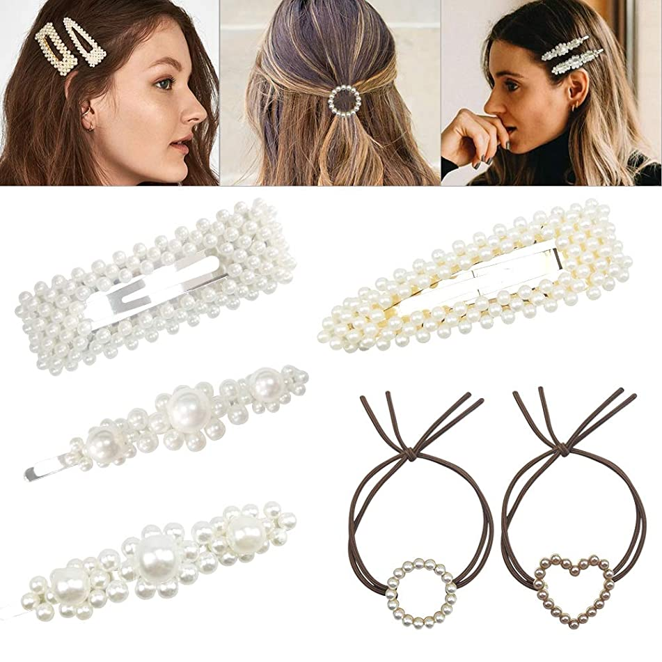 Sibosen Pearls Hair Clips for Women Girls - 4pcs Large Bows/Clips/Ties,2pcs Pearl Knotted Hair Rings for Birthday Valentines Day Gifts Hairpins Headwear Barrette Styling