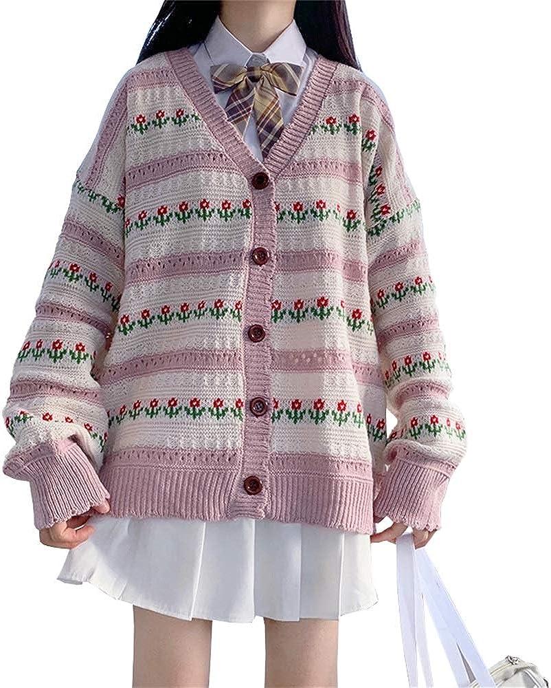 Female Harajuku Cardigan Loose Floral Stripe Sweaters Vintage Casual Sweet Students Kawaii Cute Cardigan for Woman
