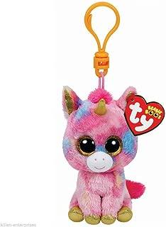 Qiyun Ty Beanie Boos Fantasia Multicolor Unicorn Clip Keychain New