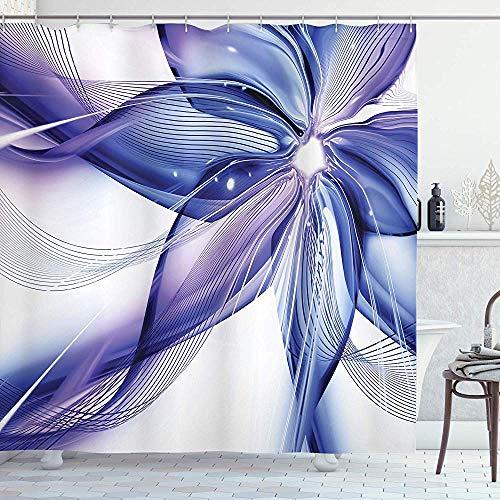 abby-shop Abstrakter Duschvorhang, geometrischer Rauch wie gestreifte riesige Blumen-Blumenmuster-Kunstwerk, Blau-Weiß