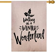 Capsceoll Fall House Flag 28X40 Inch Vertical Double Sized Burlap Outdoor Decorative Flags Walking in Winter Wonderland Calligraphy Phrase Christmas Xmas Greeting Cards Good Mug