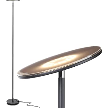 Brightech Sky LED Torchiere Super Bright Floor Lamp - Contemporary, High Lumen Light for Living Rooms & Offices - Dimmable, Indoor Pole Uplight for Bedroom Reading - Black