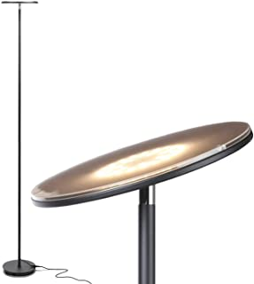 Brightech Sky LED Torchiere Super Bright Floor Lamp - Tall Standing Modern Pole Light for Living