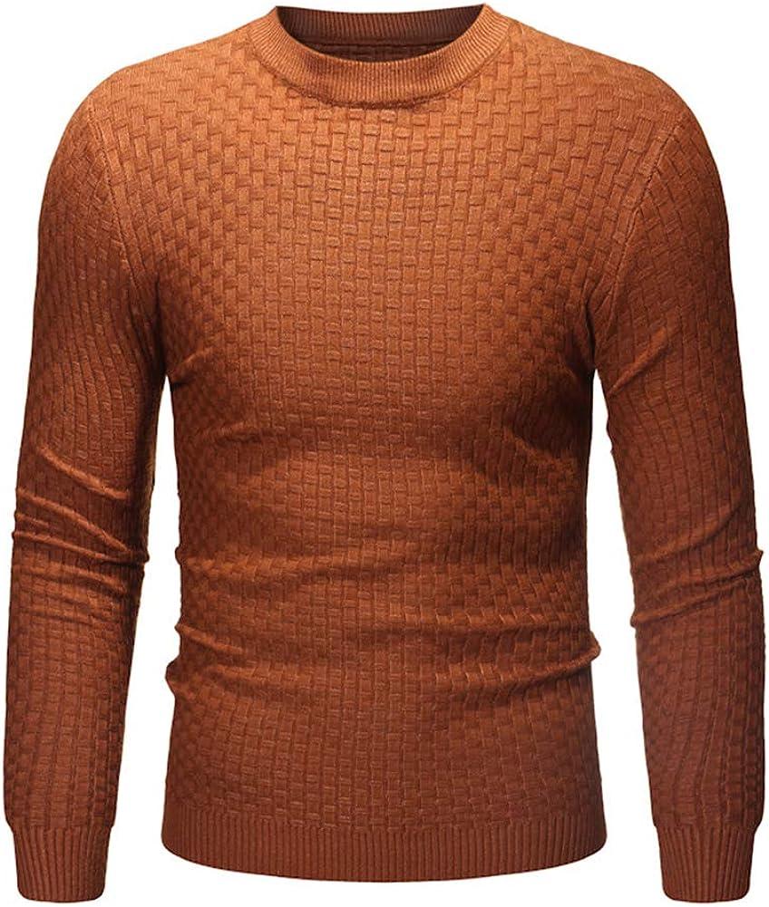 LONGBIDA Men's Slim Fit Max 56% OFF Plaid Crewneck Knit Pullover Sweater 1 year warranty