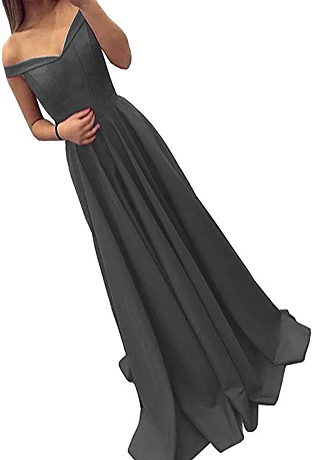 BridalAffair Off The Shoulder A Line Long Prom Homecoming Dress Evening Gowns