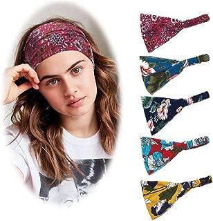 5 Pack Women's Sports Headband Yoga Elastic Hairband Printed Running Wide Headband (Motion elasticity)
