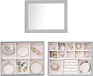 Vlando Stackable Jewelry Tray - Multipurpose Jewelry Accessories Display Storage and Organizer for Earring Necklace Bracel...