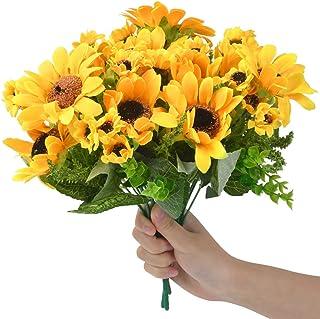 TIMESETL 5 Pcs Artificial Sunflower Bouquets, 7 Heads Per Bunch, Silk Fake Sunflowers Faux Floral Arrangement Plants for B...