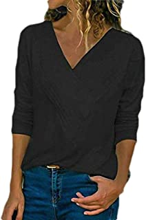 Loyomobak Women's Wrap Top V Neck Casual Long-Sleeve Plain Slim Fit Tee Shirt Blouse Top