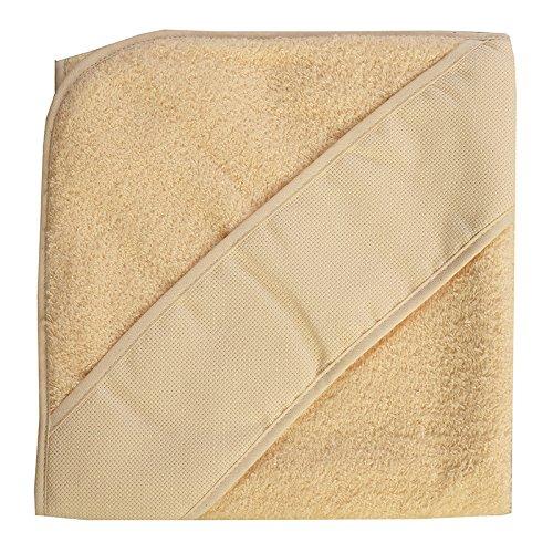 PURALGO-puro algodón. Toalla para bebés de punto de cruz, con gorrito. (beije)