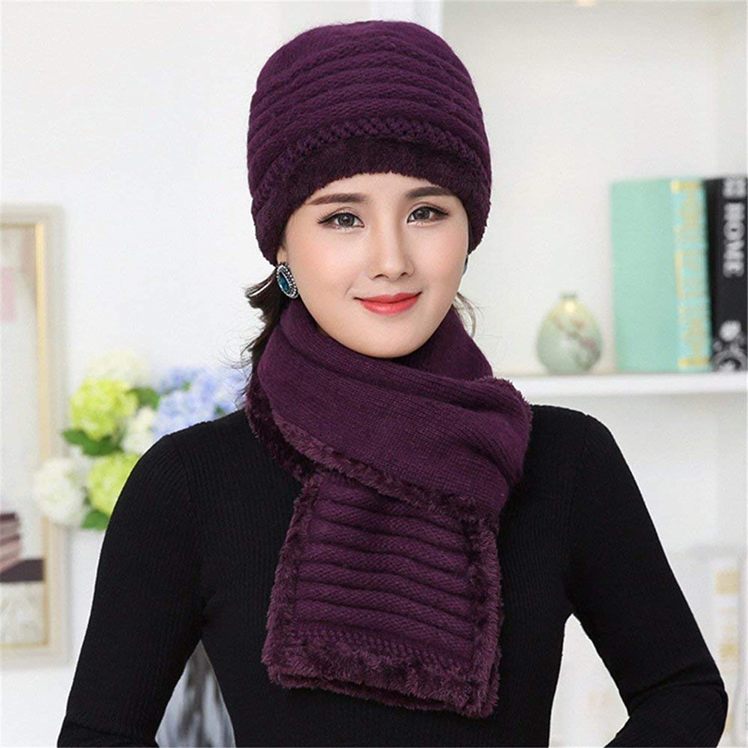 Chuangshengnet Ladies' hat autumn winter knitted thread hat middleaged er hat scarf
