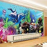 Fondos De Pantalla De Fotos Personalizados 3D Gran Mural Submarino Mundo Acuario 3D Estéreo Peces Tropicales Sala De Estar Dormitorio Tv Papel Tapiz,250*175Cm