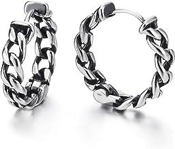 Pair Stainless Steel Vintage Tribal Curb Chain Wreath Huggie Hinged Hoop Earrings Unisex Men Women