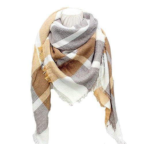 afc35518c911b Sundayrose Plaid Blanket Scarf Oversized Square Tartan Shawl Wrap