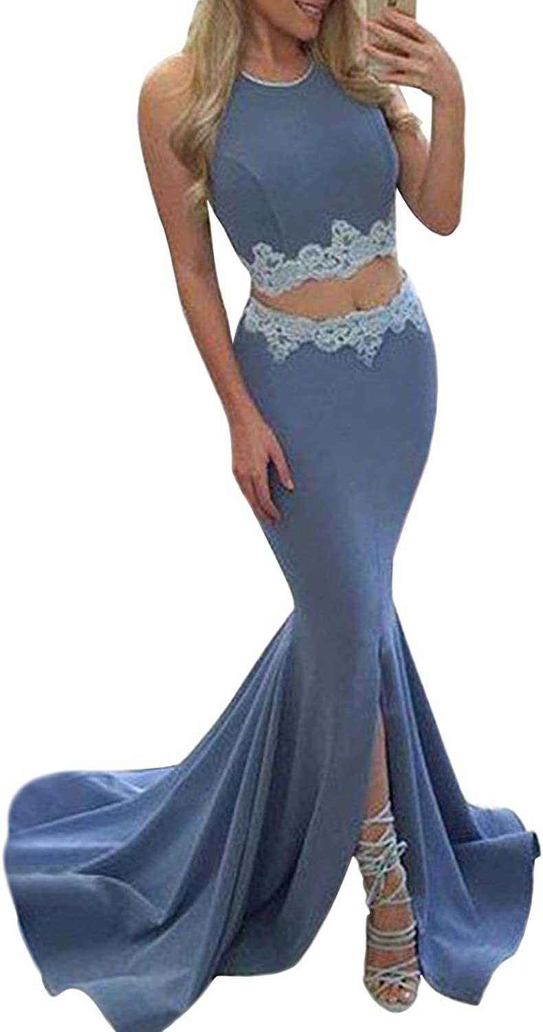 MARSEN Sexy Halter Two Piece Prom Dress Long Slit Backless Mermaid Evening Gown