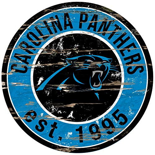 Fan Creations Sign Carolina Panthers Round Distressed, Multi