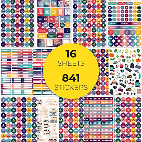 Clever Fox Planner Fitness Stickers Set - Monthly, Weekly & Daily Planner Stickers 16 Sheets Set of 841+ Unique Stickers (Fitness & Nutrition)