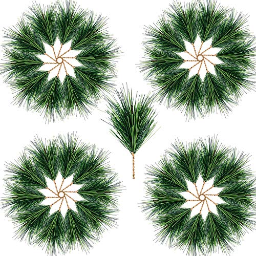 Alpurple 80 PCS Artificial Green Pine Needles Branches-4.0' x 2.0 Inch Pine Twigs Stems Picks-Fake Greenery Pine Picks for Christmas Garland Wreath and Home Holiday Garden Decoration (80pcs)
