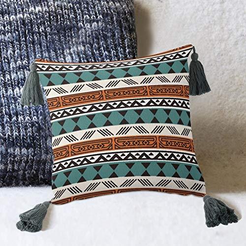 by Unbranded Orange Line - Almohada decorativa de lino y algodón, diseño de simetría, color marrón turquesa