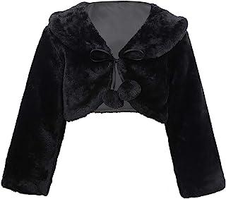YOOJIA Kids Flower Girls Faux Fur Long Sleeve Coat Bridesmaid Wedding Birthday Party Formal Jacket