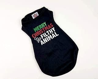 House of FurBaby Christmas Dog Shirt | Merry Christmas Ya Filthy Animal | Funny Christmas Shirt for Dogs