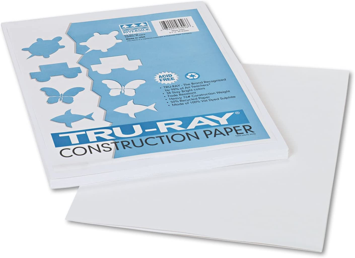 Pacon 103026 Free shipping Tru-Ray Construction Paper 76 Max 57% OFF x White lbs 9 12