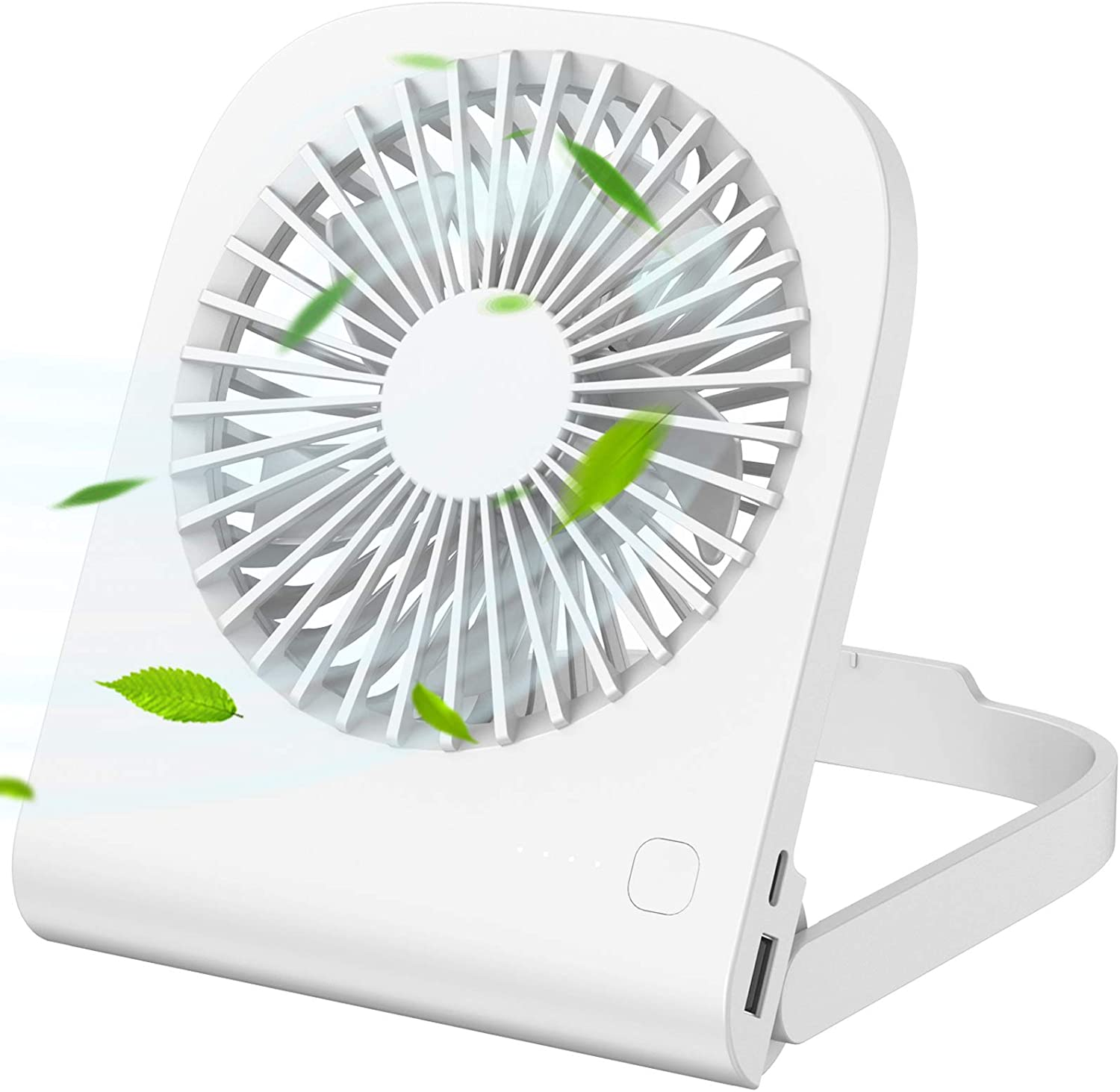 Personal USB Desk Fan, iHoven Mini Portable 14h Cooling Office Rechargeable Small Table Fan, 4800mah Quiet Battery Operated Desktop Fan Adjustable for Home Office Car Outdoor Travel White (white)