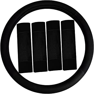 FH Group FH2033BLACK Steering Wheel Cover (Modernistic and Seat Belt Pads Combo Set Black)