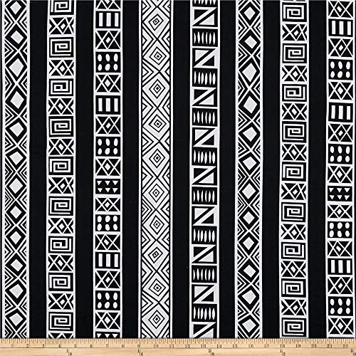 Shawn Pahwa African Print DTY Brushed Lungile Fabric, White/Black, Fabric By The Yard