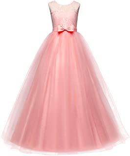 Girls Embroidery Princess Pageant Dress Kids Tulle Flower Lace Wedding Party Prom Floor Length Formal Evening Ball Gowns