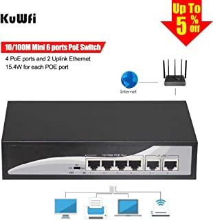 KuWFi POE Switch 4 Port, Metal Enclosure 6-Port 10/100 Switch with 4 PoE Ports and 2 Uplink Ethernet Desktop Switch hub Network Full/Half Duplex for IP Camera and Ceiling AP 15.4W Extend 250meters