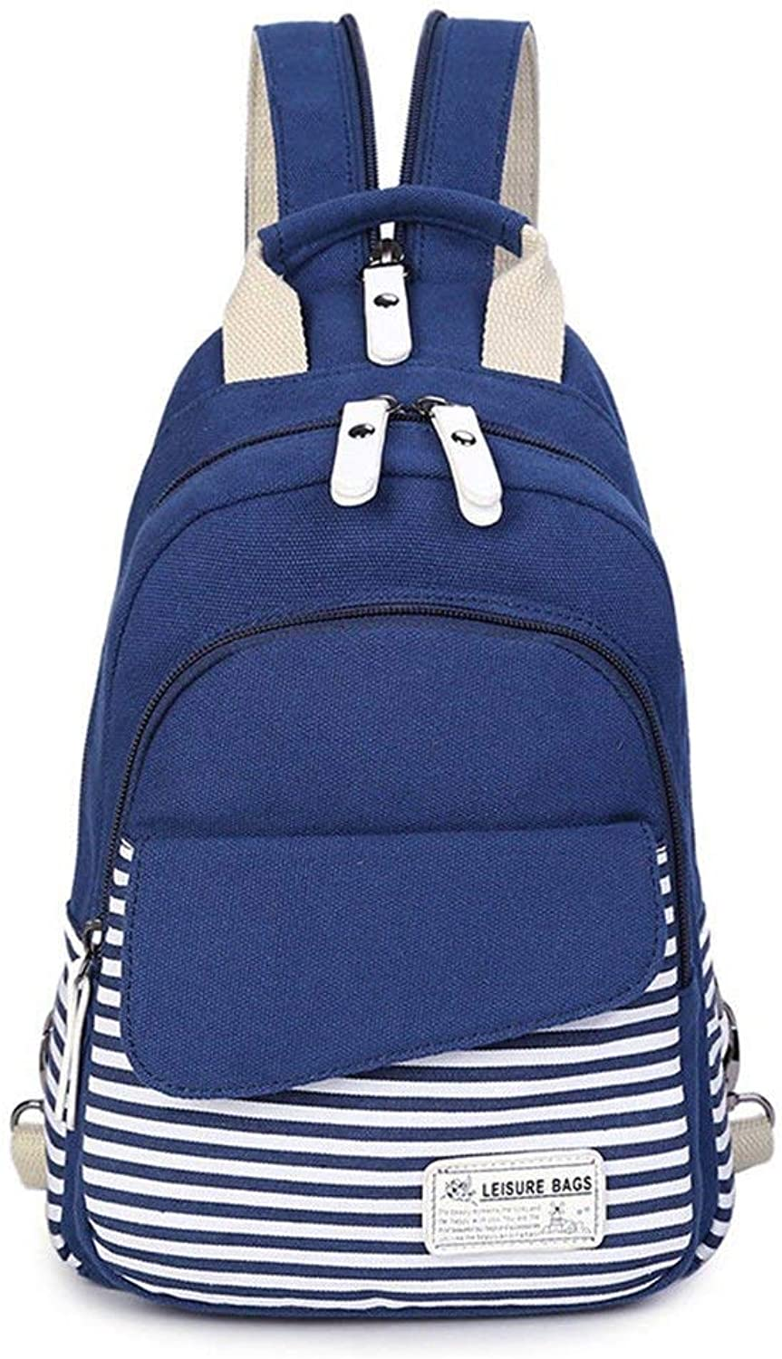 Willsego Female chest bag backpack multipurpose canvas sports bag (color   bluee, Size   )