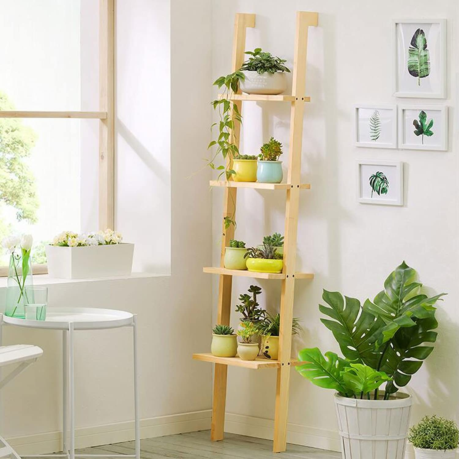 Flower stand Trapezoidal flower stand Indoor Balcony flower stand Multi-Layer Floor Shelf Three-Dimensional flower stand Solid Wood Material (color   B)