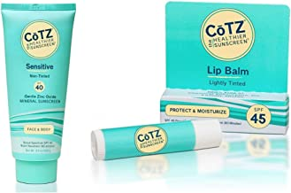 CoTZ Sensitive SPF 40 Mineral Sunscreen and Lip Balm SPF 45 Bundle With Zinc, Antioxidants and Titanium Dioxide, For Acne-Prone, Oily, Dry or Sensitive Skin and Dry or Chapped Lips, 3.5 and 0.14 oz.