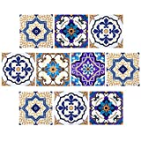 Comius Autoadhesivo Azulejos Decorativos en Vinilo, 10 Piezas 3D Diseño de Mosaico Adhesivo...