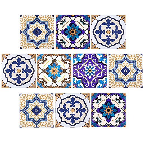 Adesivi per Piastrelle, Comius 10 PCS DIY Impermeabile Autoadesiva Vetro Piastrelle Adesivi Muro Decals Piastrelle Tile Stickers per Bagno, Toilette, Cucina, Soggiorno (20cm×20cm) (B)