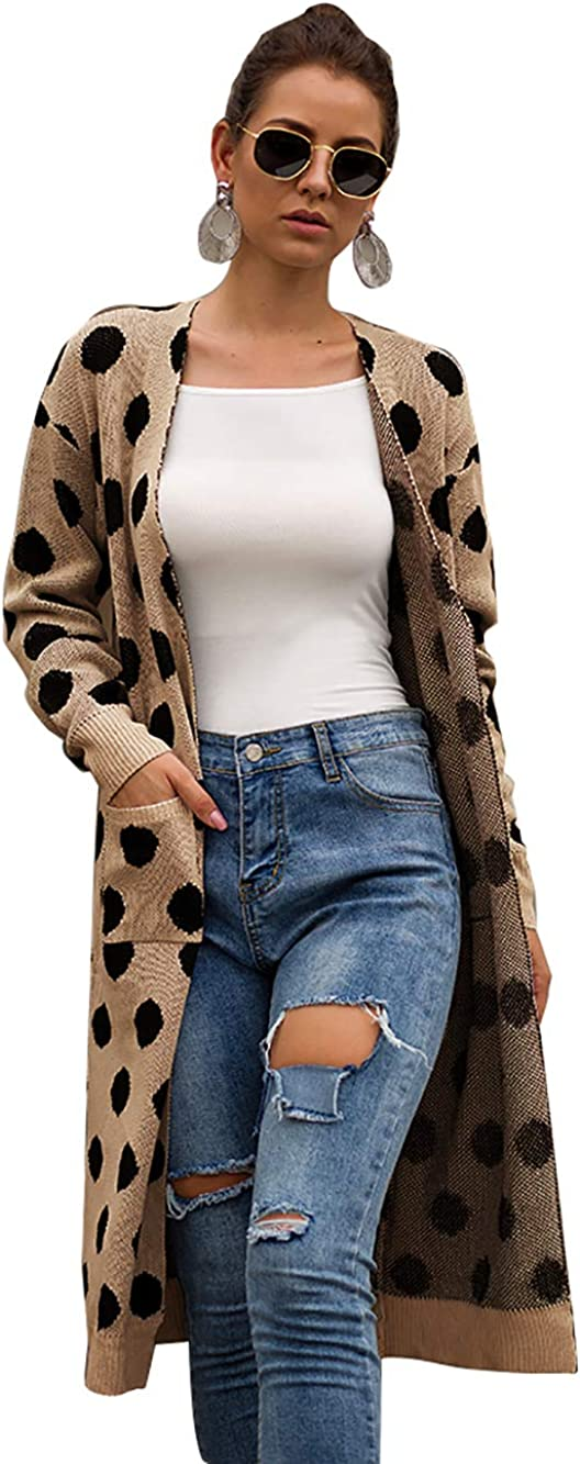 Yizenge Women's Knit Long Cardigan Sweaters Open Front Sweater Cardigans with Pockets