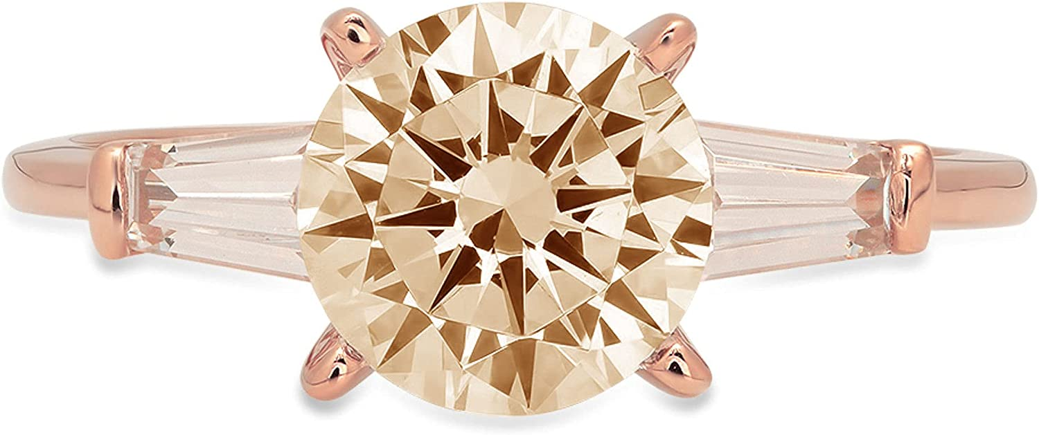2.05 ct Round Baguette Cut 3 stone Solitaire Stunning Genuine VVS1 Simulated Yellow Moissanite Modern Promise Statement with accent Designer Ring 18K Rose Gold