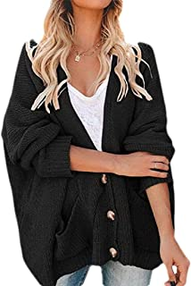 Women's Regular Casual Knit Sweaters Batwing Sleeve Pockets Loose Cardigans